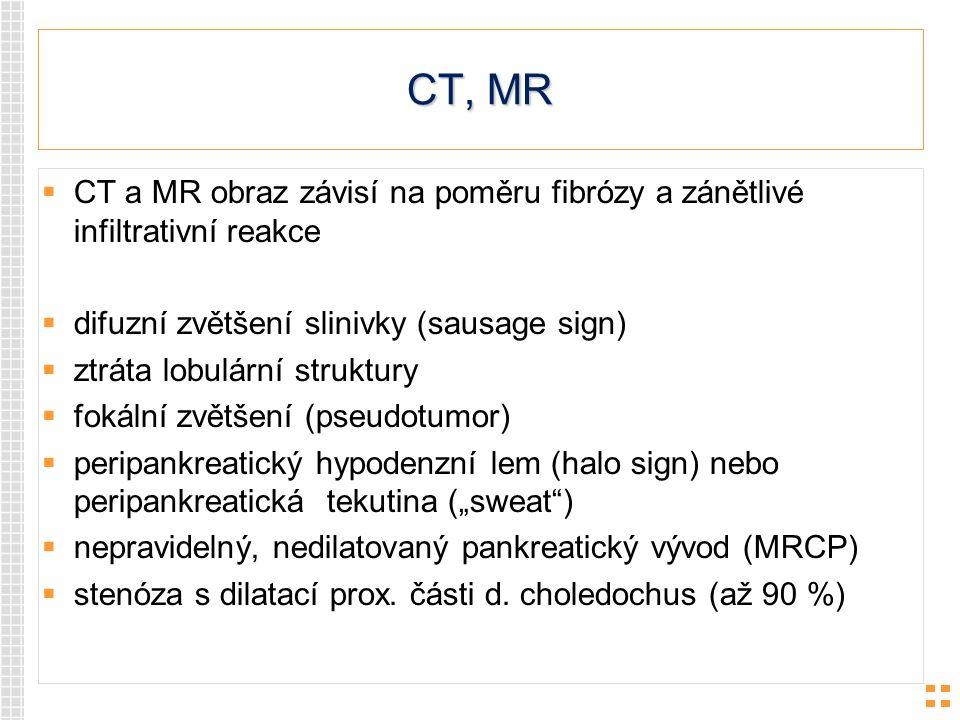 CT, MR CT a MR obraz závisí na poměru fibrózy a zánětlivé infiltrativní reakce. difuzní zvětšení slinivky (sausage sign)