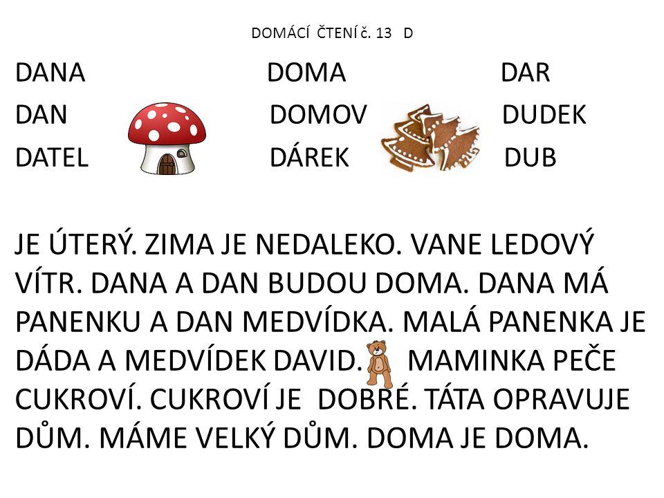 DOMÁCÍ ČTENÍ č. 13 D DANA DOMA DAR.