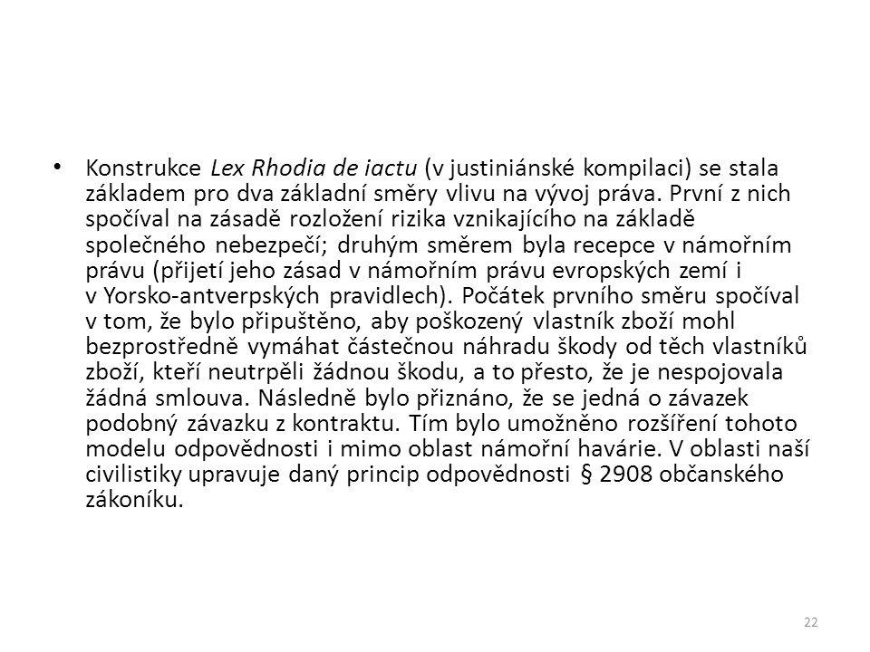 Konstrukce Lex Rhodia de iactu (v justiniánské kompilaci) se stala základem pro dva základní směry vlivu na vývoj práva.