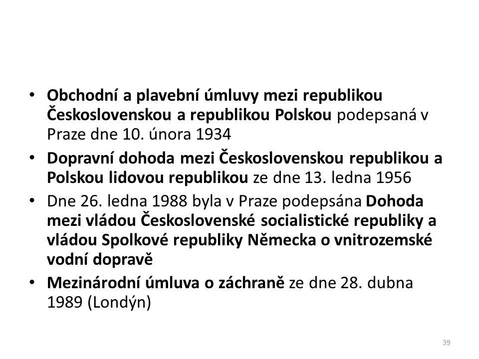 Obchodní a plavební úmluvy mezi republikou Československou a republikou Polskou podepsaná v Praze dne 10. února 1934