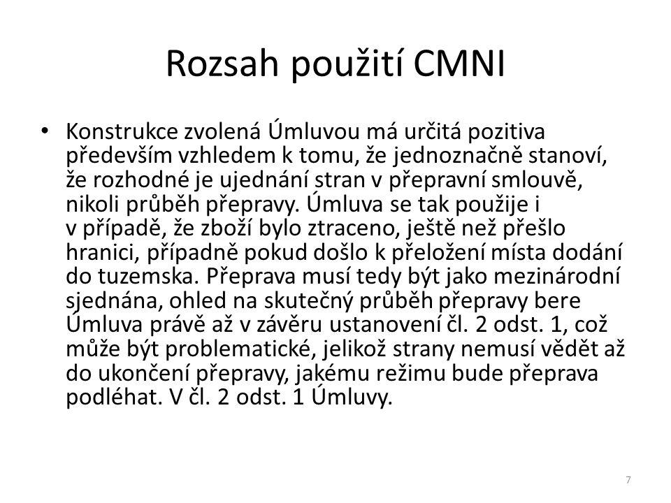 Rozsah použití CMNI