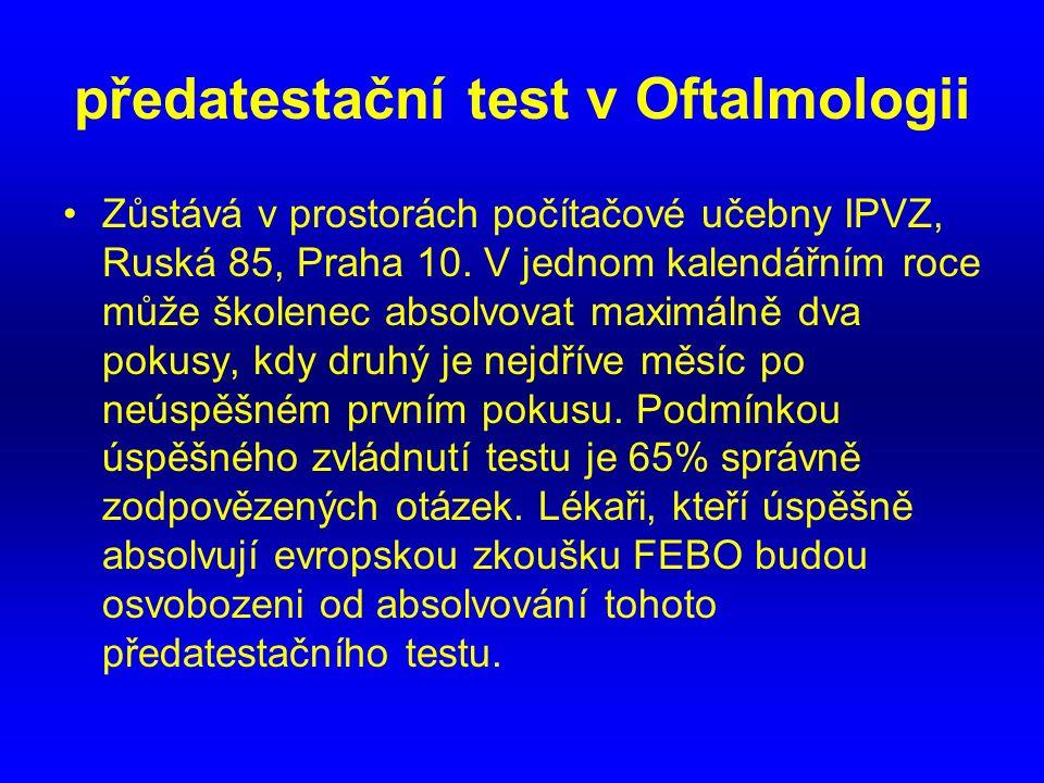 předatestační test v Oftalmologii