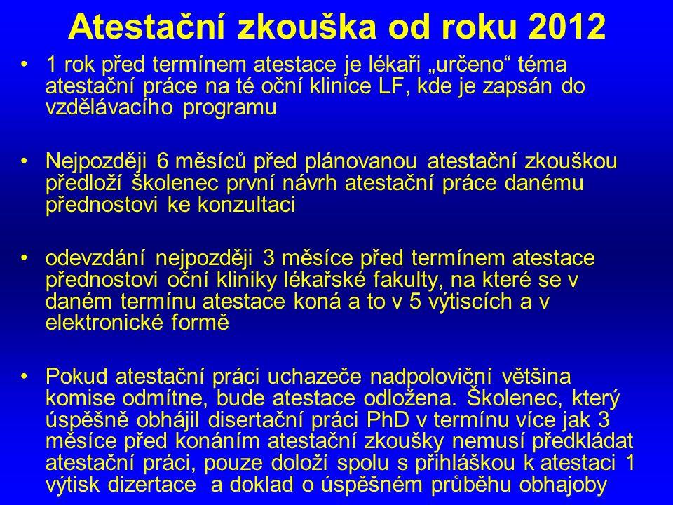 Atestační zkouška od roku 2012