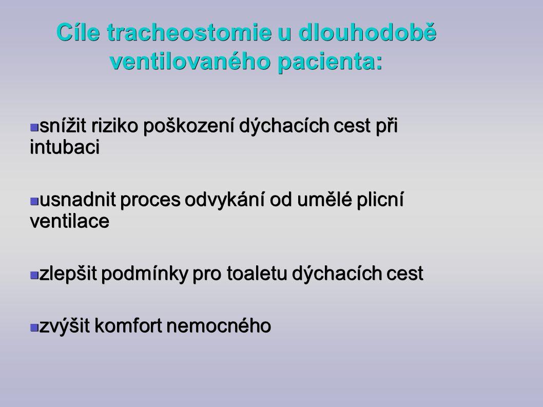 Cíle tracheostomie u dlouhodobě ventilovaného pacienta: