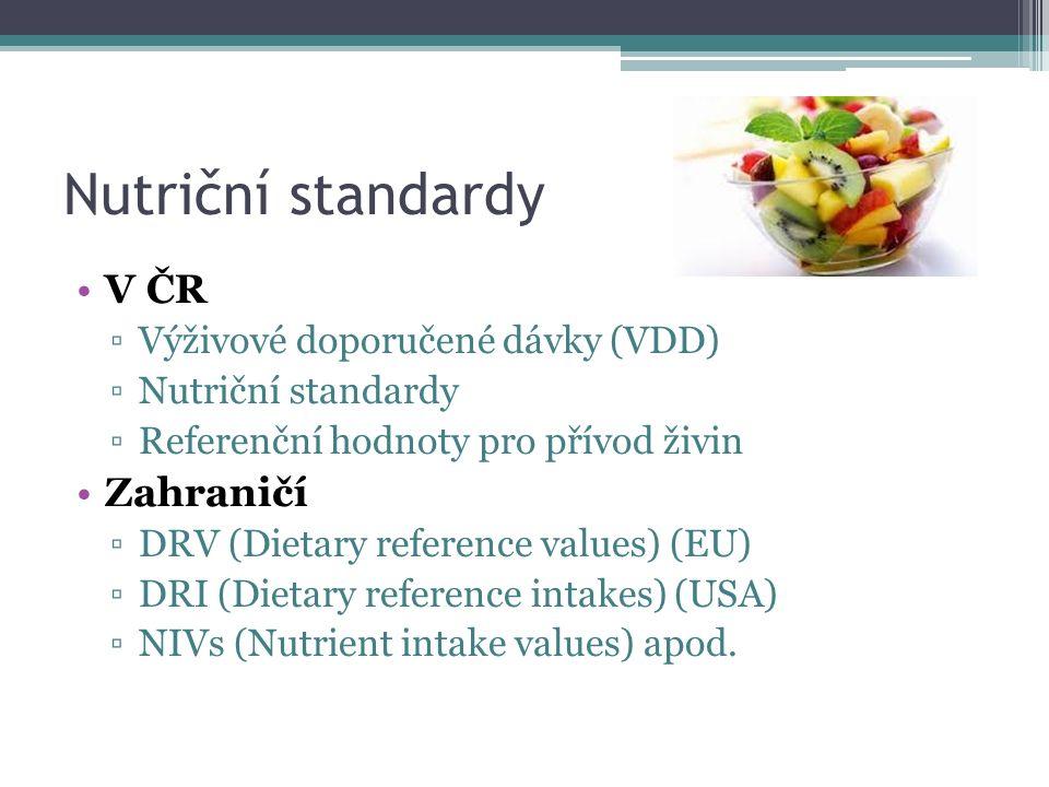 Nutriční standardy V ČR Zahraničí Výživové doporučené dávky (VDD)