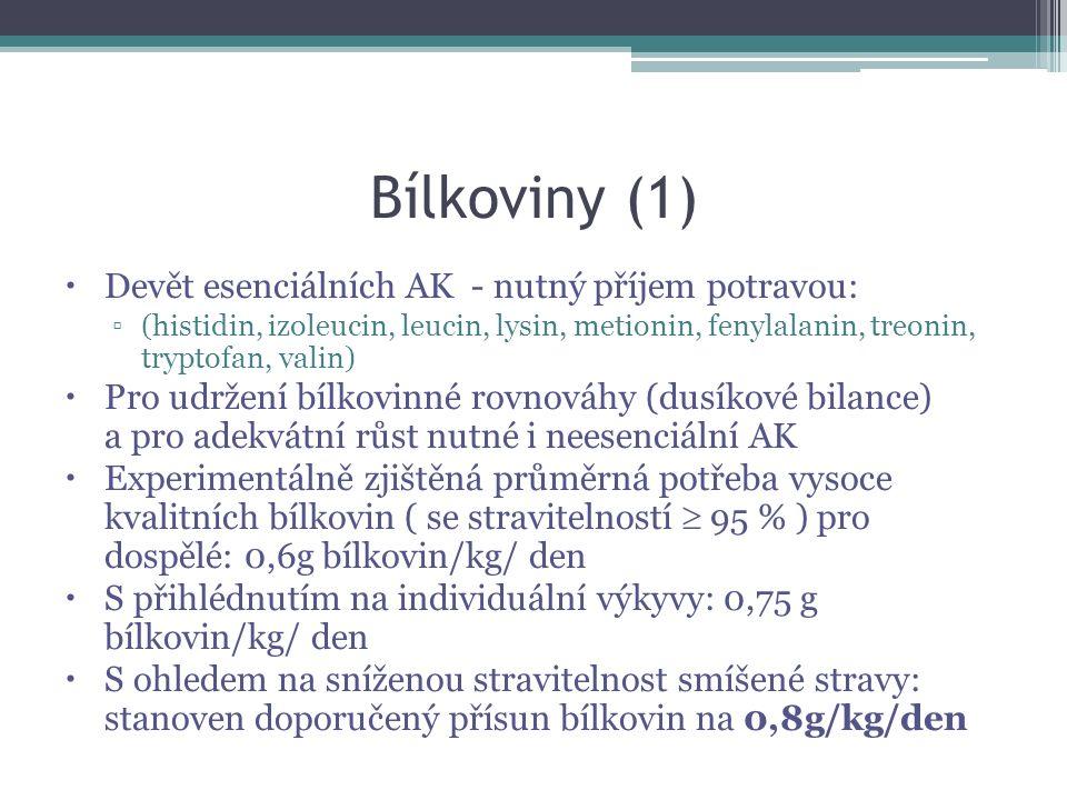 Bílkoviny (1) Devět esenciálních AK - nutný příjem potravou: