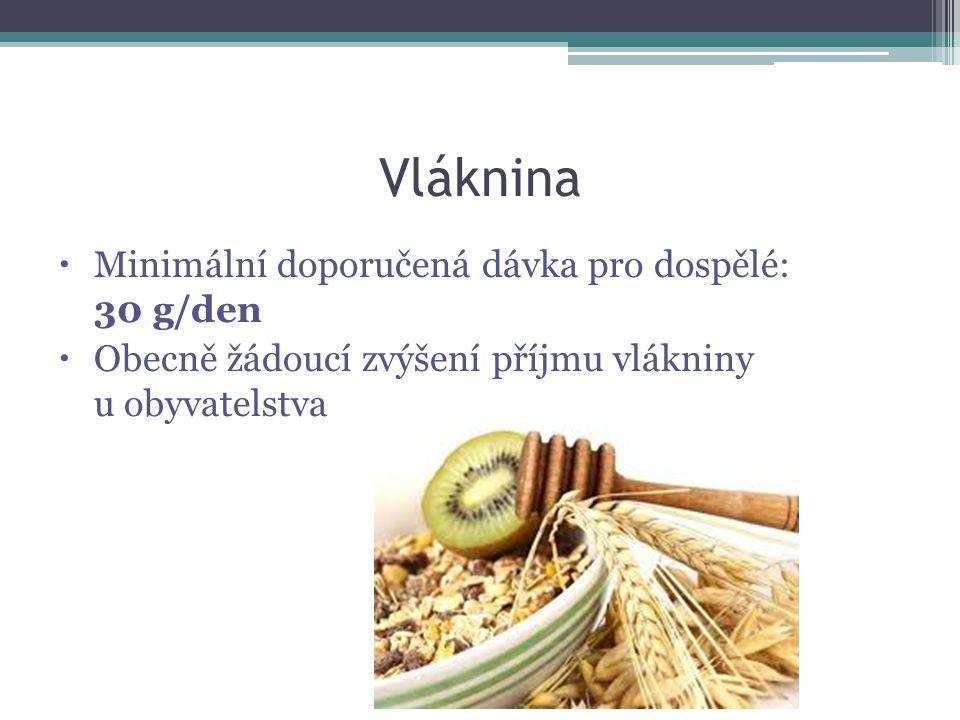 Vláknina Minimální doporučená dávka pro dospělé: 30 g/den