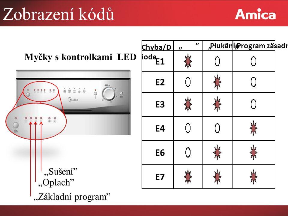 """Zobrazení kódů E1 E2 E3 E4 E6 E7 Myčky s kontrolkami LED """"Sušení"""