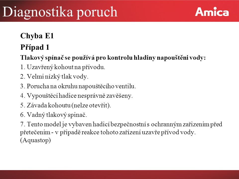 Diagnostika poruch Chyba E1 Případ 1