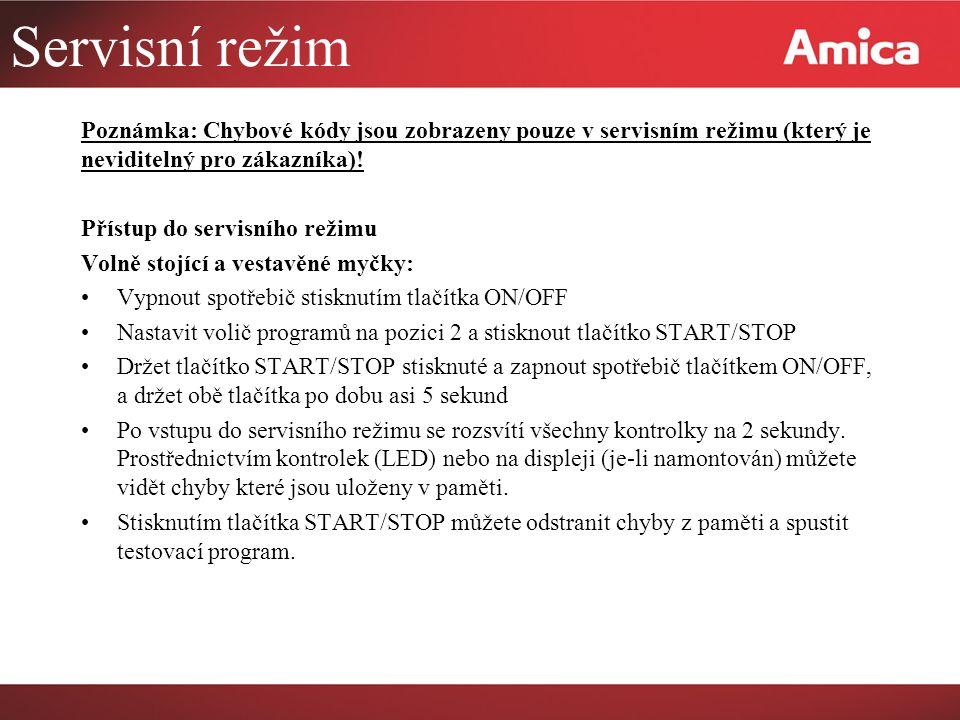 Servisní režim Poznámka: Chybové kódy jsou zobrazeny pouze v servisním režimu (který je neviditelný pro zákazníka)!