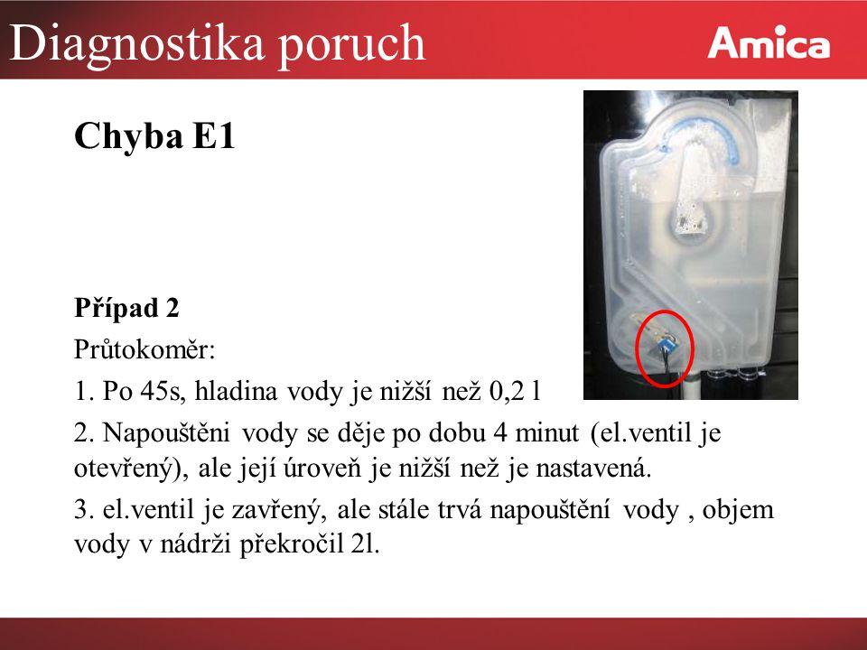 Diagnostika poruch Chyba E1 Případ 2 Průtokoměr: