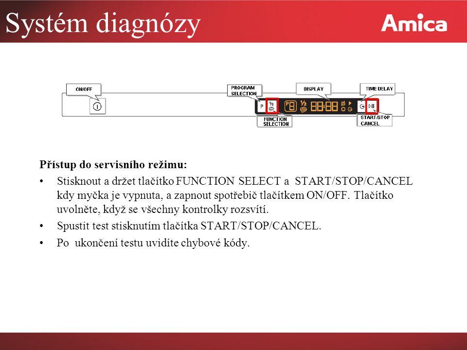 Systém diagnózy Přístup do servisního režimu: