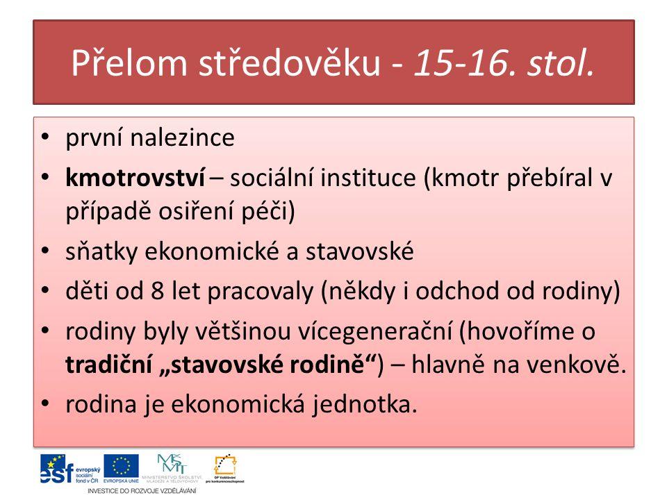 Přelom středověku - 15-16. stol.