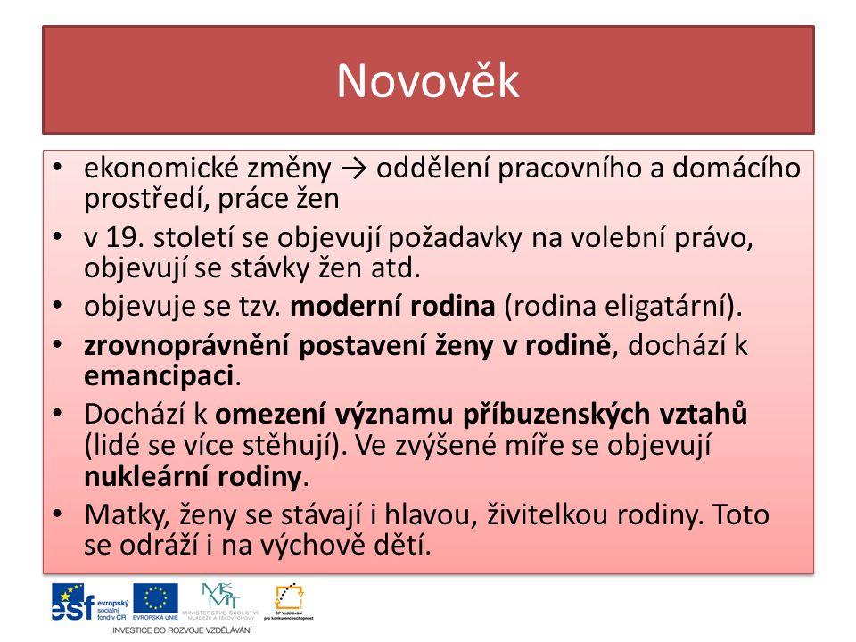 Novověk ekonomické změny → oddělení pracovního a domácího prostředí, práce žen.