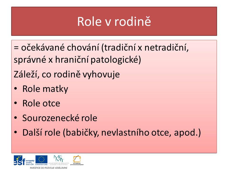 Role v rodině = očekávané chování (tradiční x netradiční, správné x hraniční patologické) Záleží, co rodině vyhovuje.