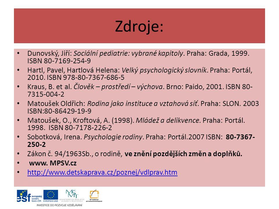 Zdroje: Dunovský, Jiří: Sociální pediatrie: vybrané kapitoly. Praha: Grada, 1999. ISBN 80-7169-254-9.