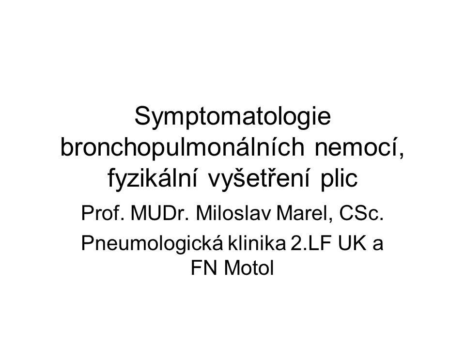 Symptomatologie bronchopulmonálních nemocí, fyzikální vyšetření plic