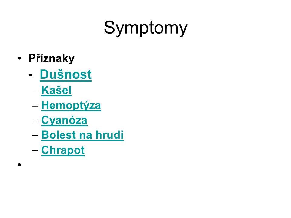 Symptomy - Dušnost Příznaky Kašel Hemoptýza Cyanóza Bolest na hrudi