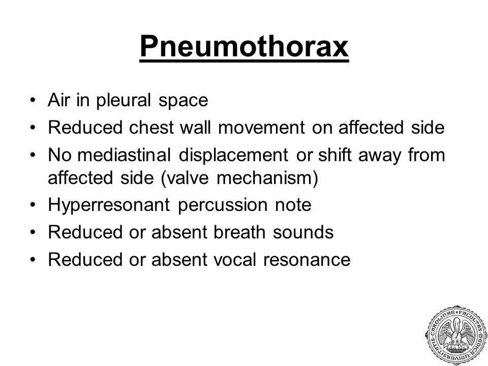Pneumothorax Air in pleural space