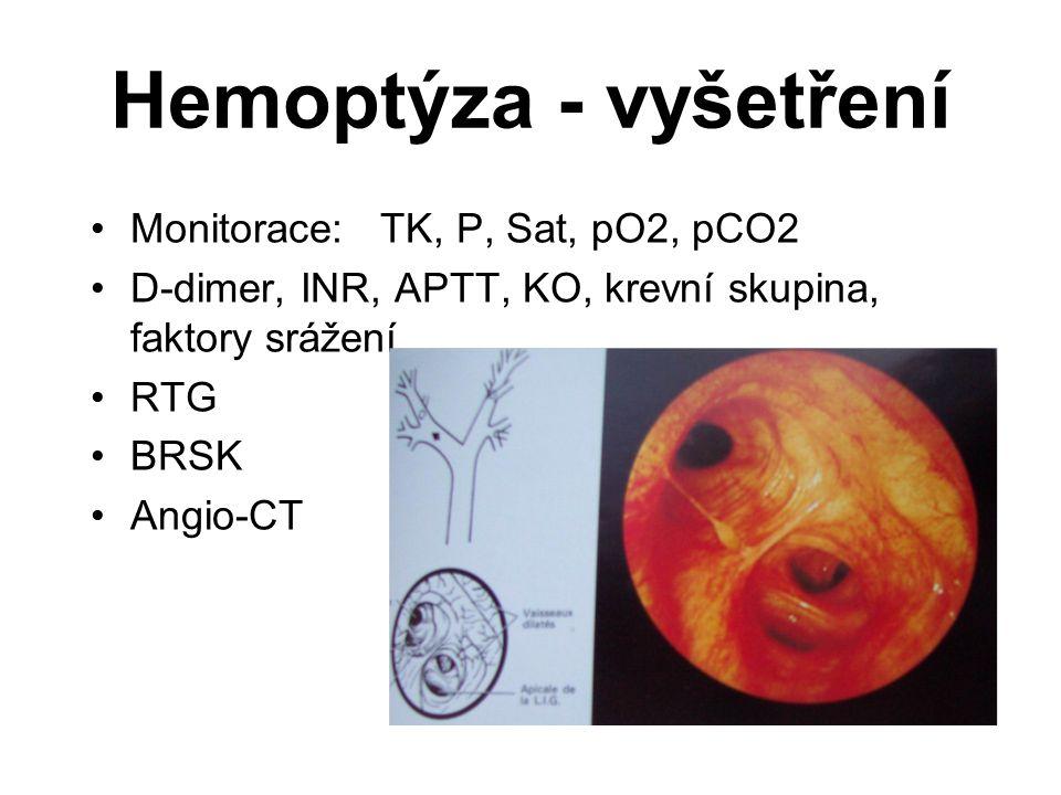 Hemoptýza - vyšetření Monitorace: TK, P, Sat, pO2, pCO2