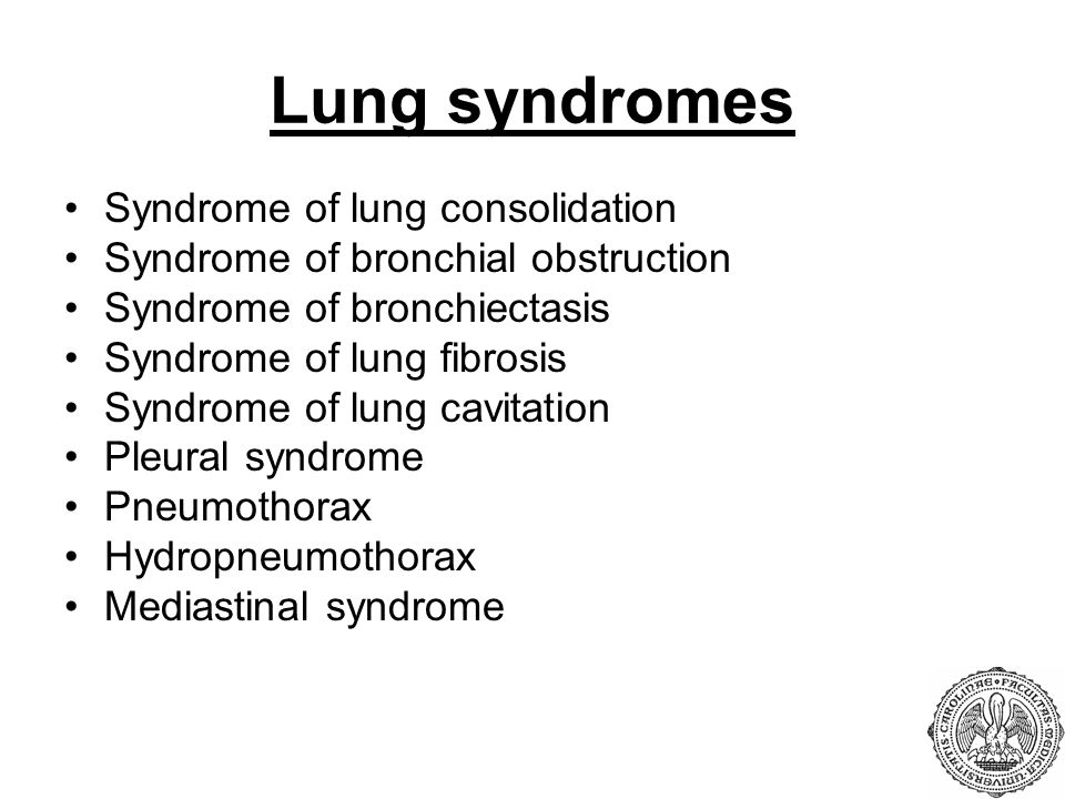 Lung syndromes Syndrome of lung consolidation
