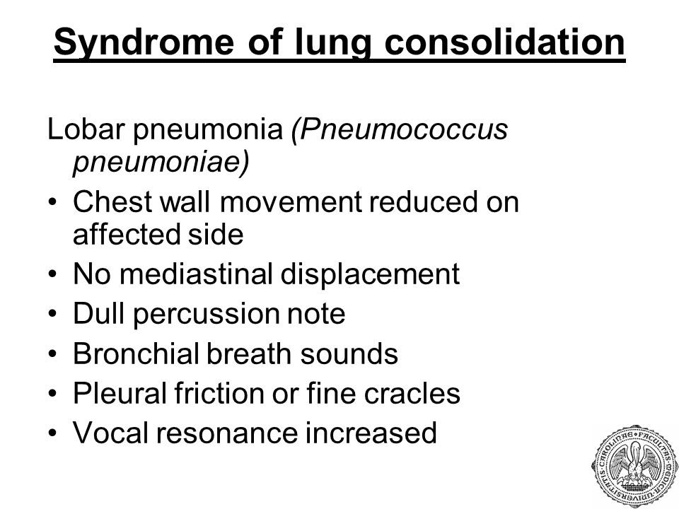 Syndrome of lung consolidation