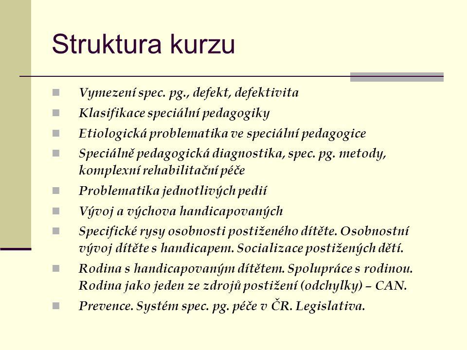 Struktura kurzu Vymezení spec. pg., defekt, defektivita