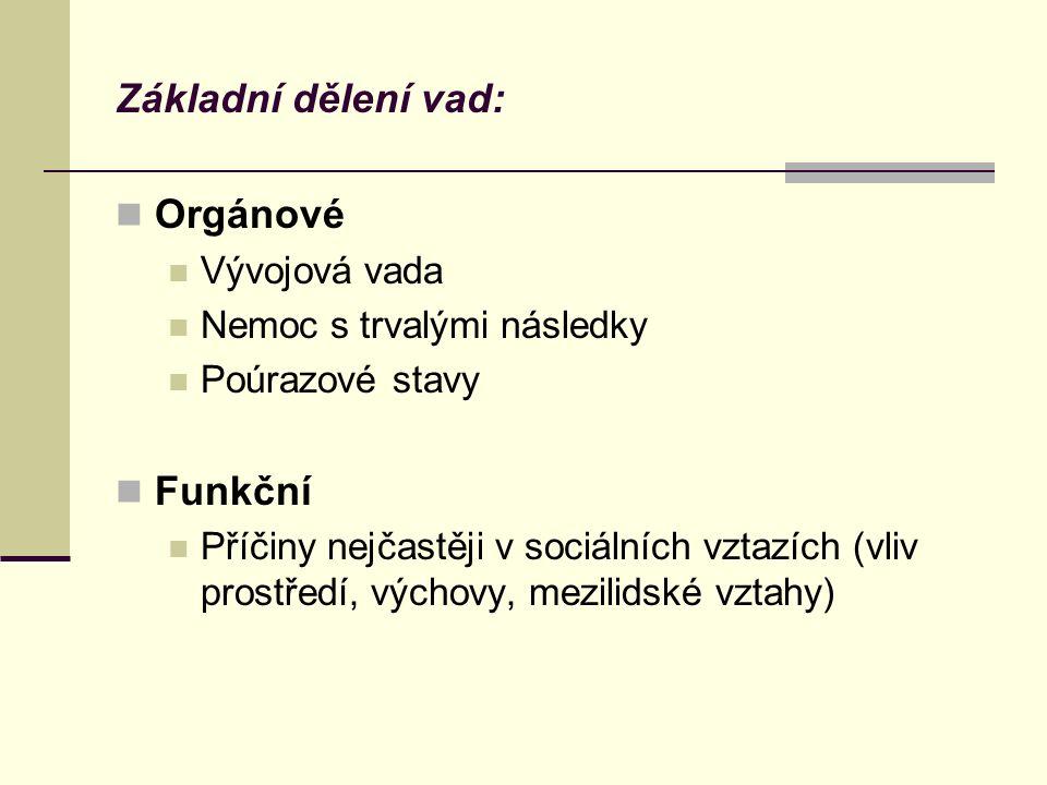 Základní dělení vad: Orgánové Funkční Vývojová vada