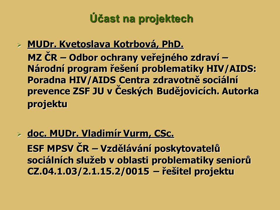 Účast na projektech MUDr. Kvetoslava Kotrbová, PhD.