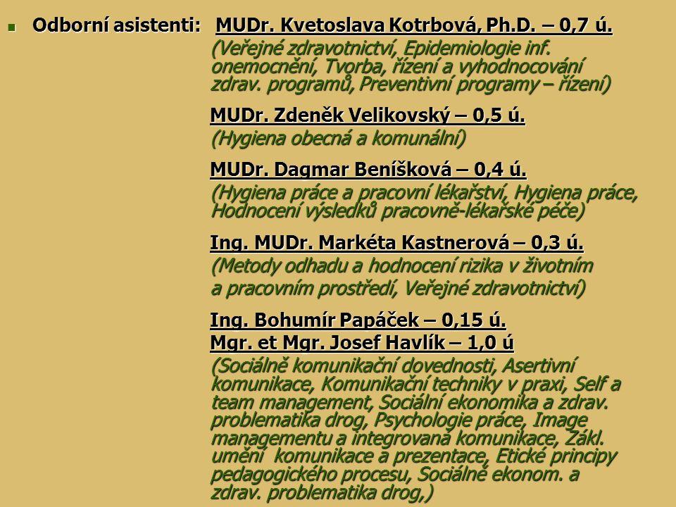 Odborní asistenti: MUDr. Kvetoslava Kotrbová, Ph.D. – 0,7 ú.