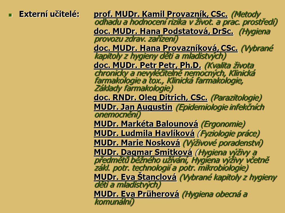 Externí učitelé:. prof. MUDr. Kamil Provazník, CSc. (Metody