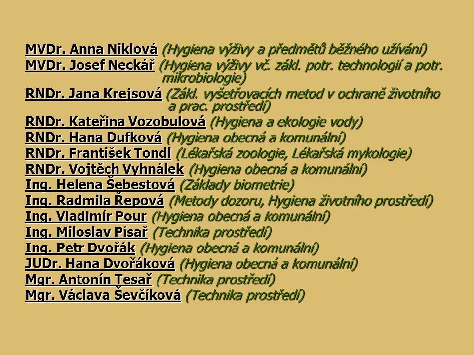 MVDr. Anna Niklová (Hygiena výživy a předmětů běžného užívání)