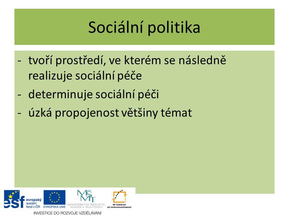 Sociální politika tvoří prostředí, ve kterém se následně realizuje sociální péče. determinuje sociální péči.