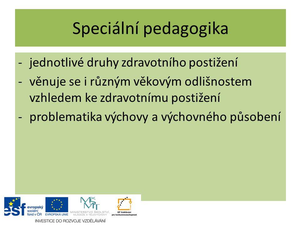 Speciální pedagogika jednotlivé druhy zdravotního postižení