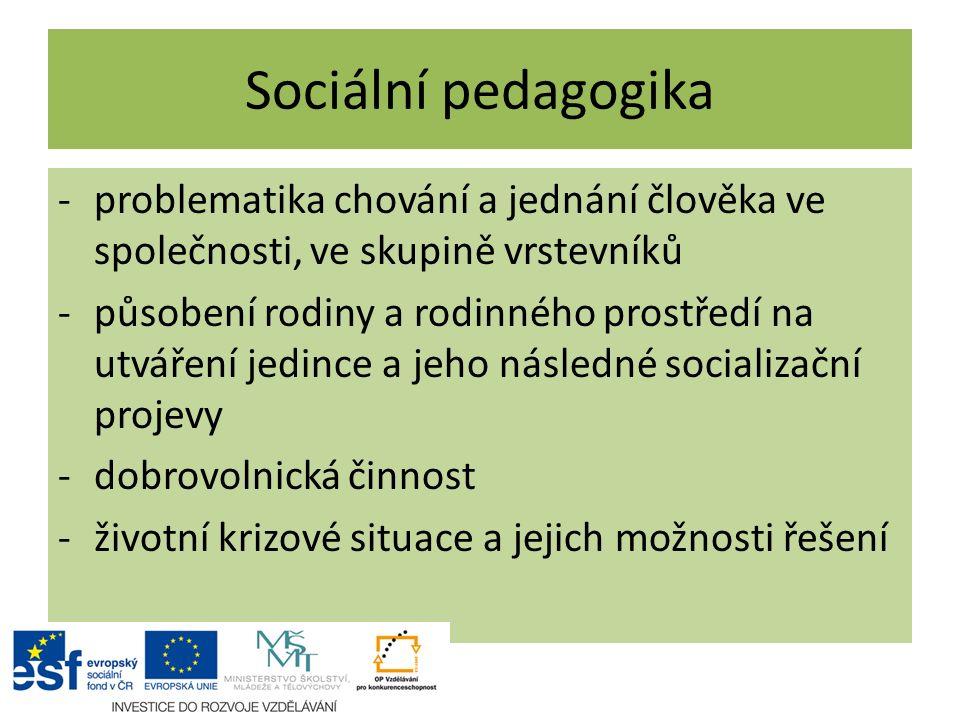 Sociální pedagogika problematika chování a jednání člověka ve společnosti, ve skupině vrstevníků.