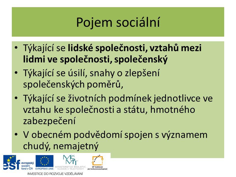Pojem sociální Týkající se lidské společnosti, vztahů mezi lidmi ve společnosti, společenský.