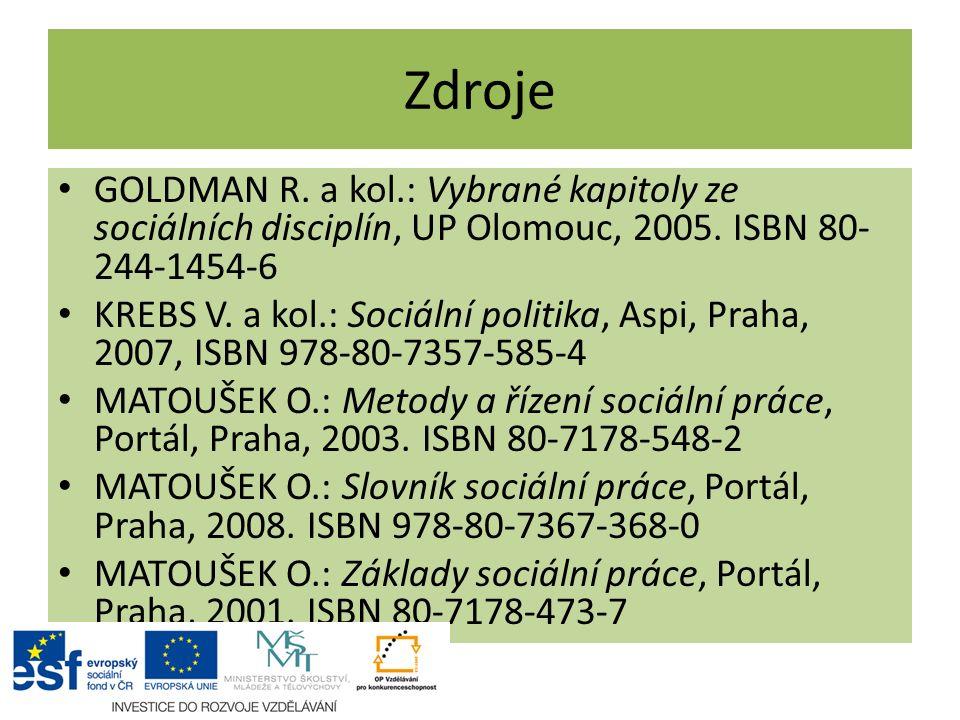 Zdroje GOLDMAN R. a kol.: Vybrané kapitoly ze sociálních disciplín, UP Olomouc, 2005. ISBN 80-244-1454-6.