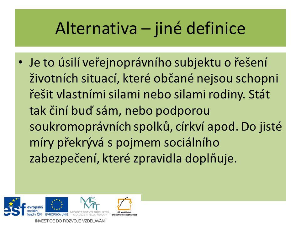 Alternativa – jiné definice