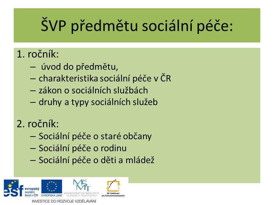 ŠVP předmětu sociální péče: