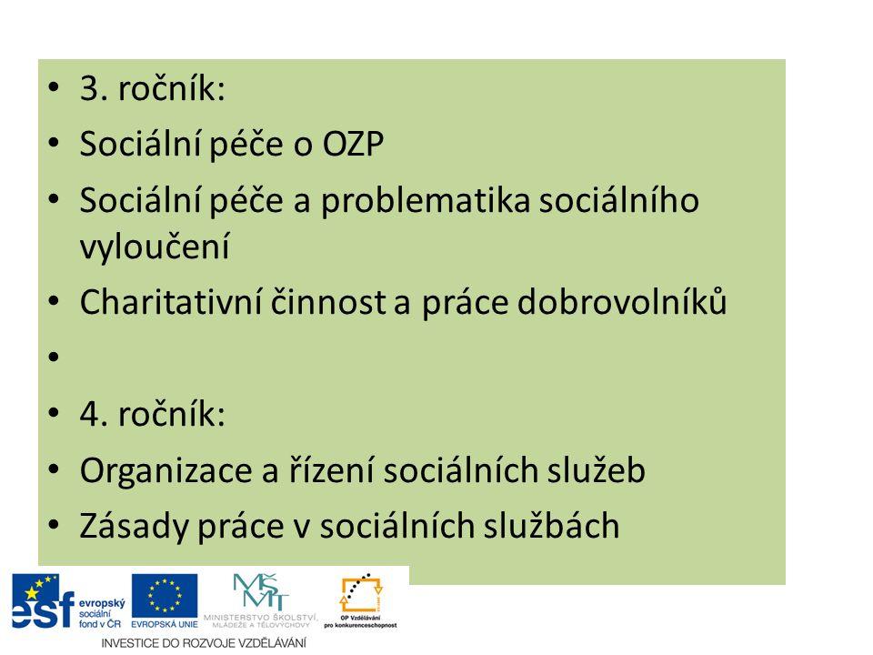 3. ročník: Sociální péče o OZP. Sociální péče a problematika sociálního vyloučení. Charitativní činnost a práce dobrovolníků.