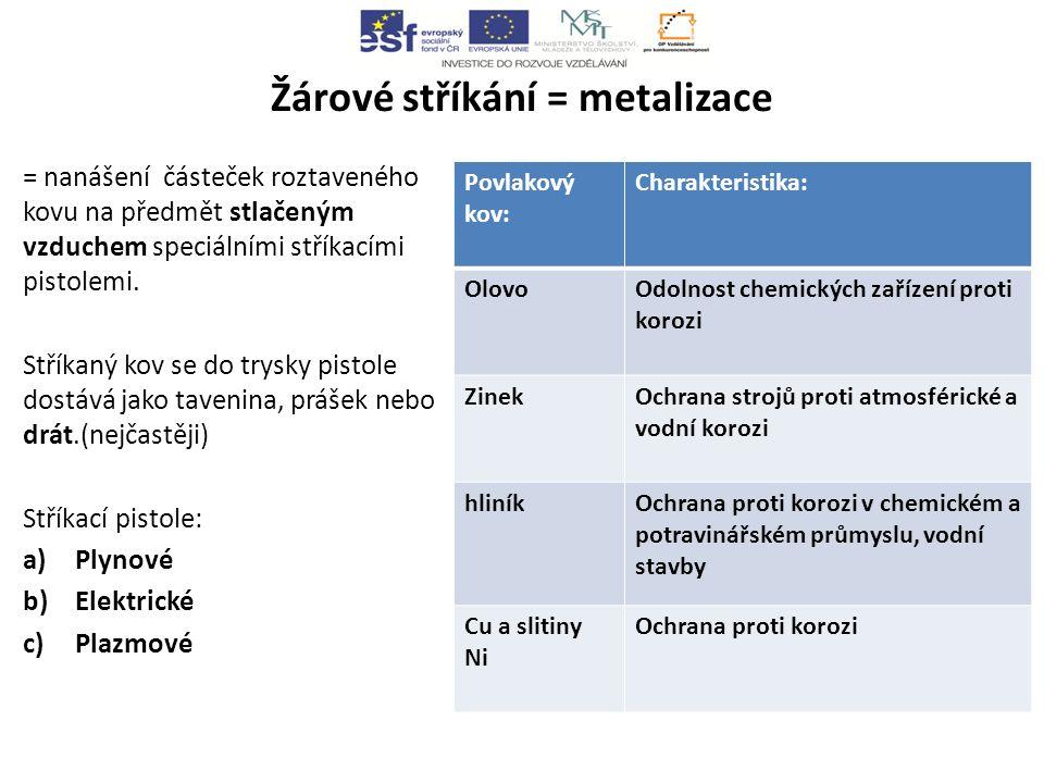 Žárové stříkání = metalizace