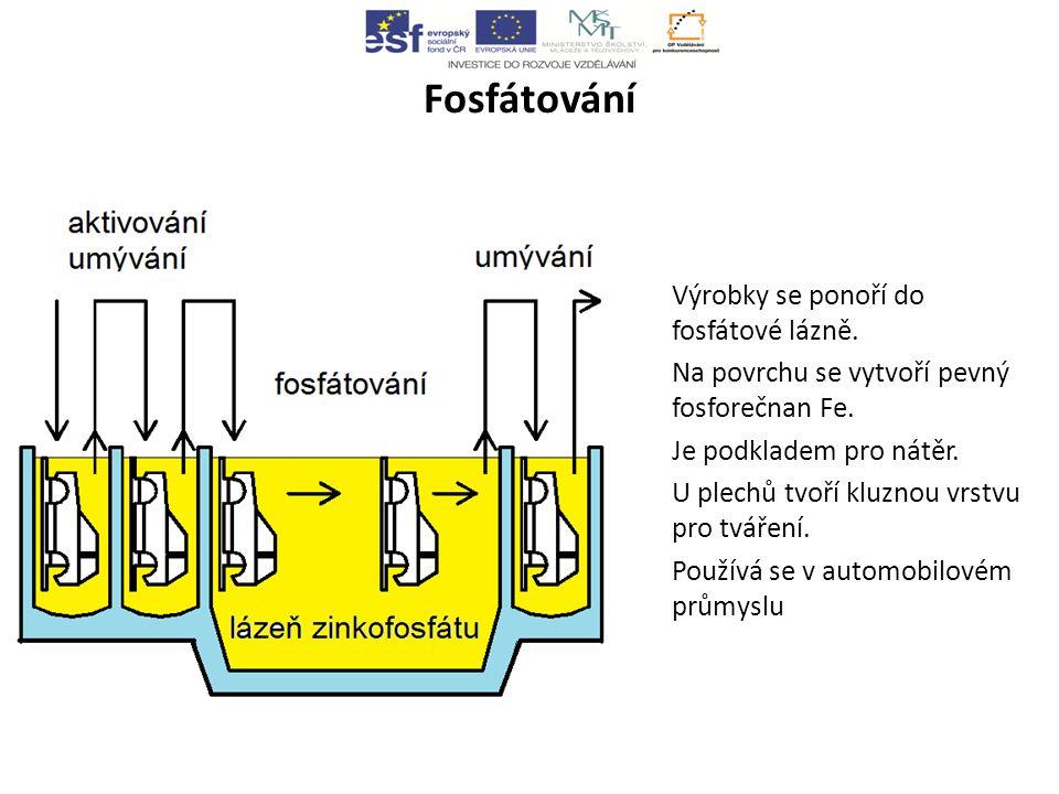 Fosfátování Výrobky se ponoří do fosfátové lázně.