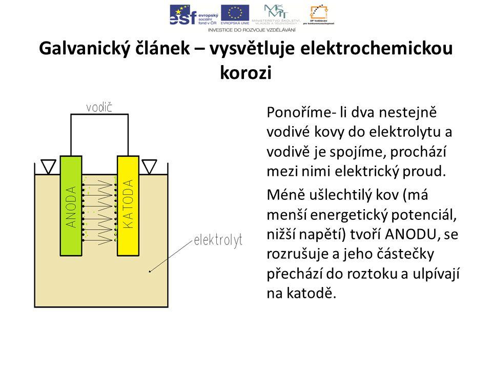 Galvanický článek – vysvětluje elektrochemickou korozi