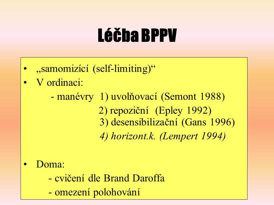 """Léčba BPPV """"samomizící (self-limiting) V ordinaci:"""