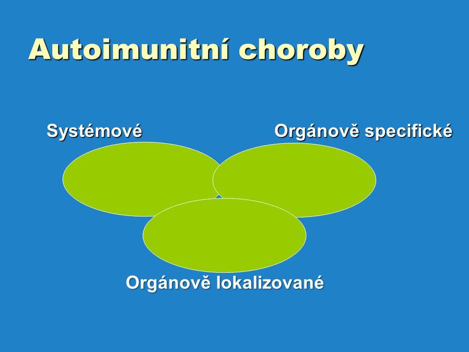 Autoimunitní choroby Systémové Orgánově specifické