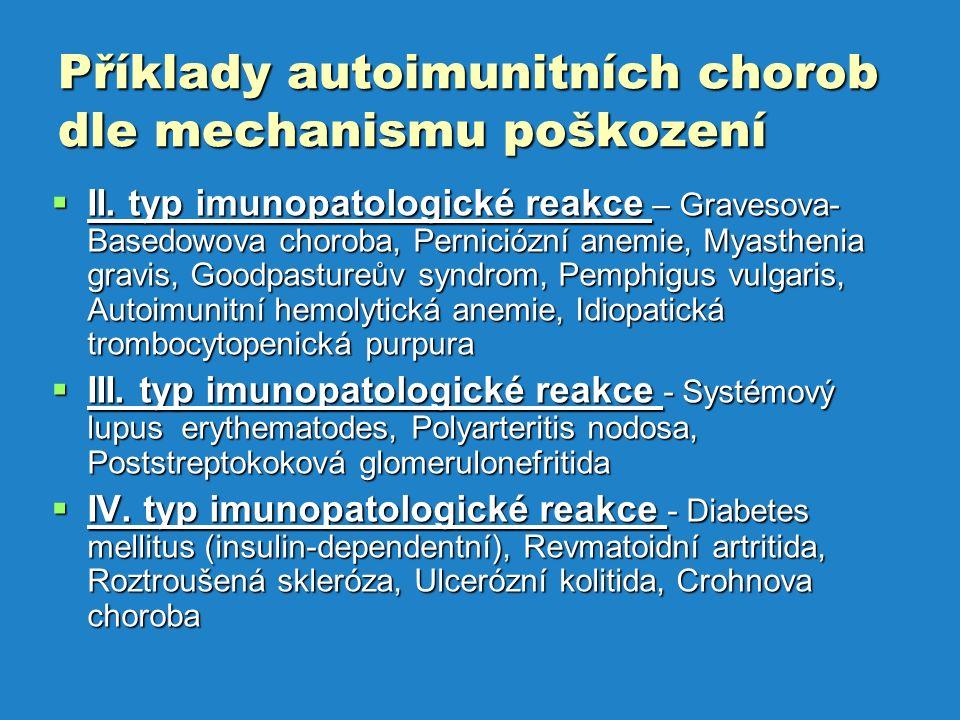 Příklady autoimunitních chorob dle mechanismu poškození