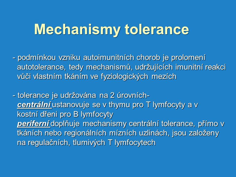 Mechanismy tolerance podmínkou vzniku autoimunitních chorob je prolomení. autotolerance, tedy mechanismů, udržujících imunitní reakci.