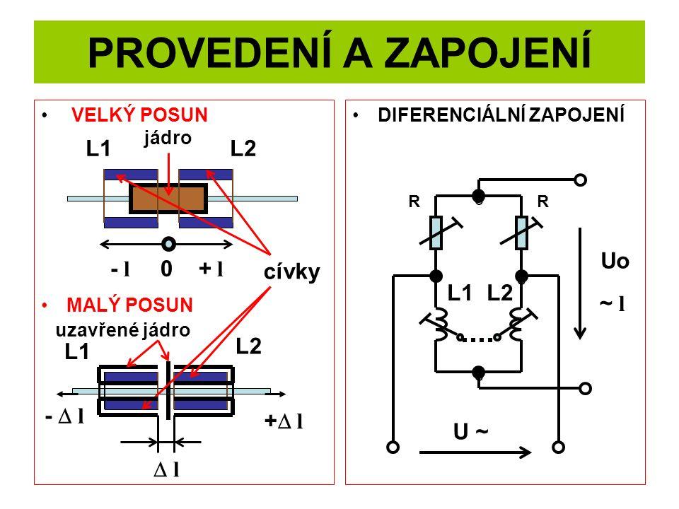PROVEDENÍ A ZAPOJENÍ L1 L2 Uo - l 0 + l cívky L1 L2 ~ l L2 L1 - D l