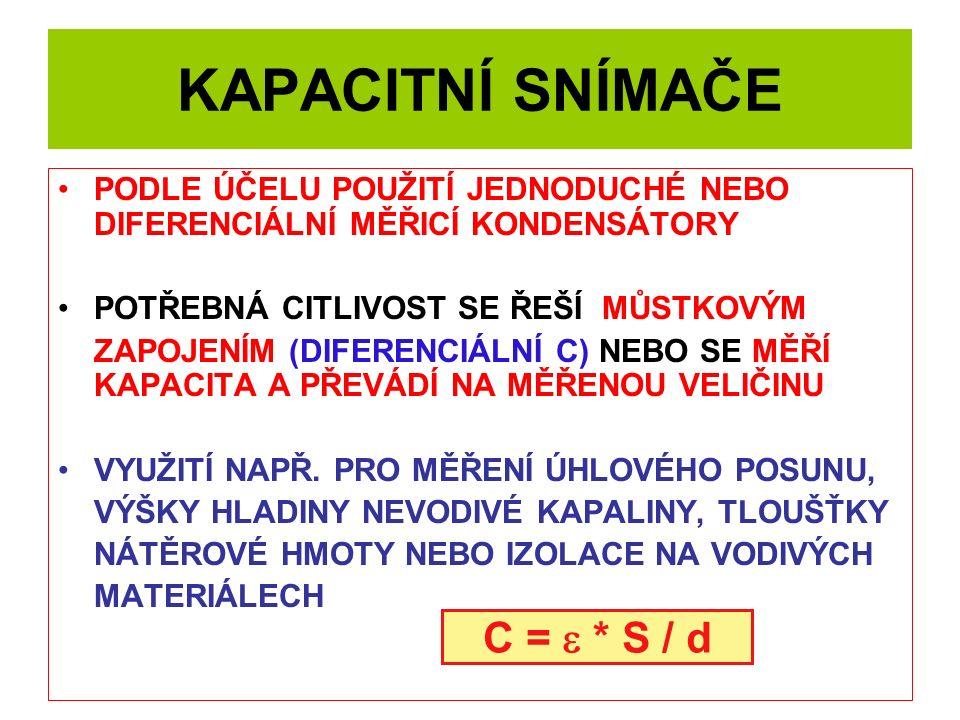 KAPACITNÍ SNÍMAČE C = e * S / d