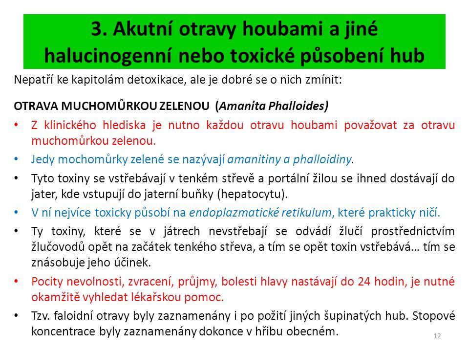 3. Akutní otravy houbami a jiné halucinogenní nebo toxické působení hub